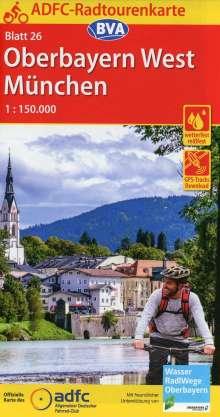 ADFC-Radtourenkarte 26 Oberbayern West / München 1:150.000, reiß- und wetterfest, GPS-Tracks Download, Diverse