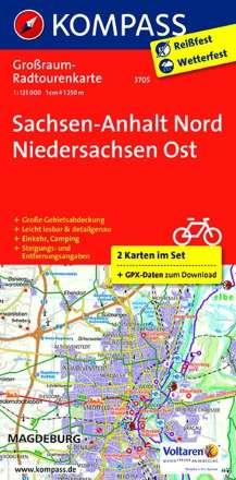 Sachsen-Anhalt Nord - Niedersachsen Ost. Großraum-Radtourenkarte 1 : 125 000, Diverse
