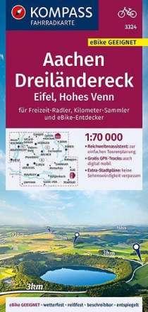 KOMPASS Fahrradkarte Aachen, Dreiländereck, Eifel, Hohes Venn 1:70.000, FK 3324, Diverse