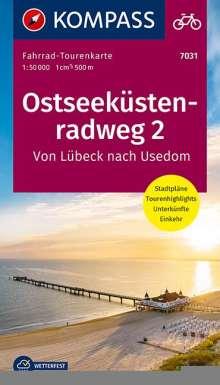 Fahrrad-Tourenkarte Ostseeküstenradweg 2, von Lübeck nach Usedom, Diverse