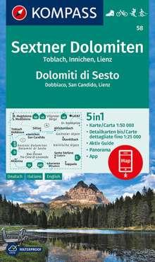 KOMPASS Wanderkarte Sextner Dolomiten, Dolomit di Sesto, Toblach, Dobbiaco, Innichen, San Candido, Lienz  1:50 000, Diverse