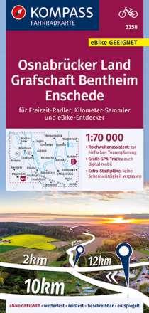 KOMPASS Fahrradkarte Osnabrücker Land, Grafschaft Bentheim, Enschede 1:70 000, Diverse