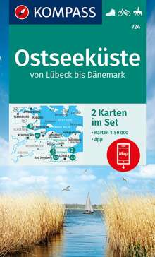 KOMPASS Wanderkarte Ostseeküste von Lübeck bis Dänemark 1:50 000, Diverse