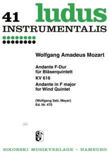Wolfgang Amadeus Mozart: Andante für Bläserquintett F-Dur KV 616, Noten