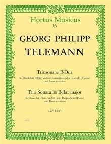 Georg Philipp Telemann: Triosonate für Blockflöte (Flöte, Violine), konzertierendes Cembalo (Klavier) und Basso continuo B-Dur TWV 42:B4, Noten