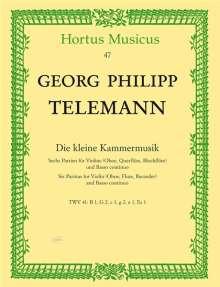 Georg Philipp Telemann: Die kleine Kammermusik, Sechs Partiten für Violine, (Flöte, Oboe, Blockflöte) und Basso continuo, Einzelstimmen, Noten