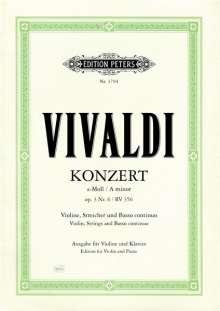 Antonio Vivaldi (1678-1741): Konzert für Violine, Streicher und Basso continuo a-Moll op. 3 Nr. 6 RV 356, Noten