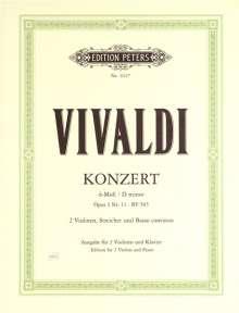 Antonio Vivaldi: Konzert für 2 Violinen, Streicher und Basso continuo d-moll op. 3 Nr. 11 RV 565, Noten