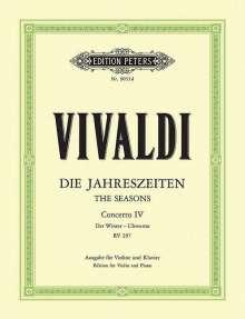 """Antonio Vivaldi (1678-1741): Die vier Jahreszeiten: Konzert für Violine, Streicher und Basso continuo f-Moll op. 8 Nr. 4 RV 297 """"Der Winter"""", Noten"""