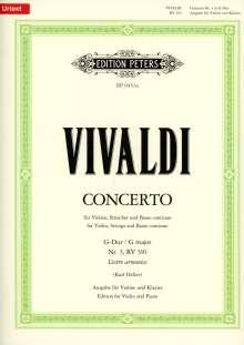 Antonio Vivaldi (1678-1741): Konzert für Violine, Streicher und Basso continuo G-Dur op. 3 Nr. 3 RV 310 / PV 96, Noten