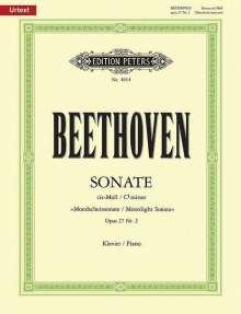 """Ludwig van Beethoven (1770-1827): Sonate für Klavier Nr. 14 cis-Moll op. 27; 2 """"Mondschein-Sonate"""" / URTEXT, Noten"""