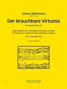 Johann Mattheson: Der brauchbare Virtuoso für Traversflöte und Basso continuo, Noten