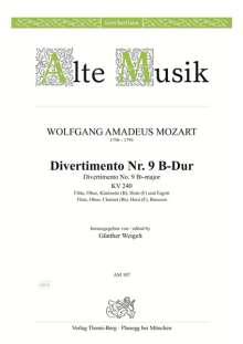 Wolfgang Amadeus Mozart: Divertimento Nr. 9 B-Dur KV 240, Noten