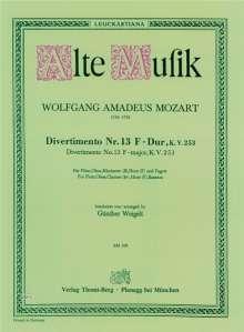 Wolfgang Amadeus Mozart: Divertimento Nr. 13 F-Dur KV 253, Noten