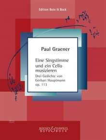 Paul Graener (1872-1944): Eine Singstimme und ein Cello musizieren op. 113, Noten