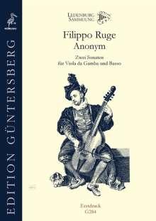 Filippo Ruge und Anonym: Zwei Sonaten für Viola da Gamba und Basso, Noten