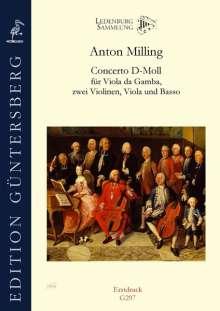 Anton Milling: Concerto D-Moll für Viola da Gamba, zwei Violinen, Viola und Basso, Noten