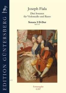 Joseph Fiala: Drei Sonaten für Violoncello und Basso ReiF 4.33 (ca 1890), Noten