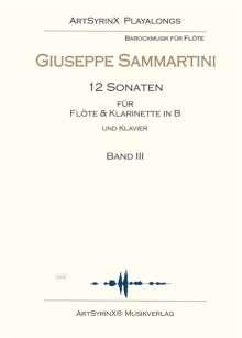 Giuseppe Sammartini: 12 Sonaten für Flöte und Klarinette in B und Klavier, Noten
