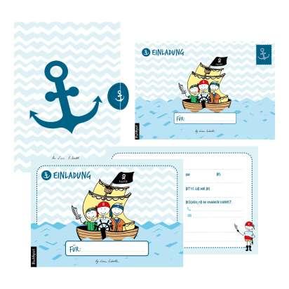 12 Einladungskarten Geburtstag Junge Piraten Handgemachte