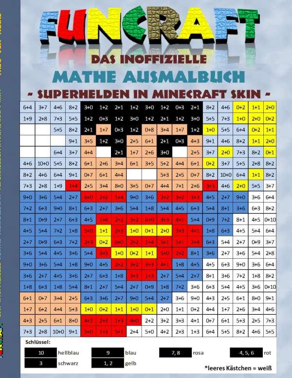Funcraft Das Inoffizielle Mathe Ausmalbuch Superhelden Im - Minecraft skins spiele