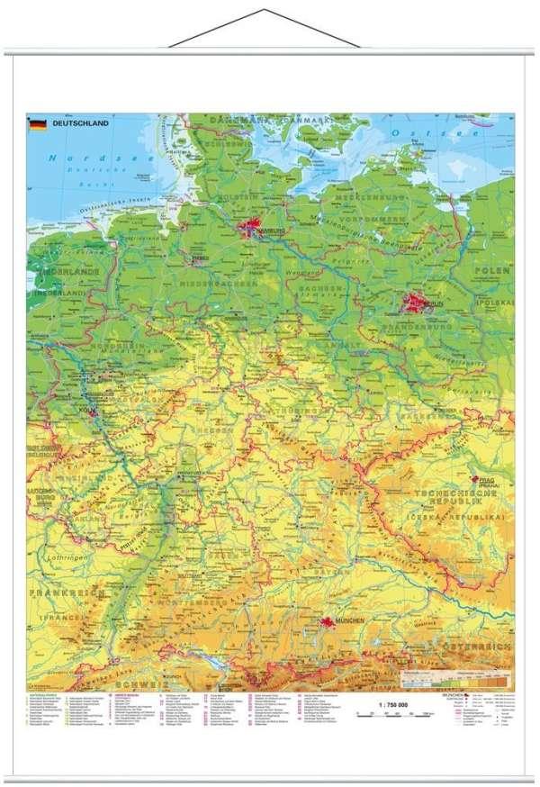 Heinrich Stiefel: Deutschland physisch 1 : 750 000. Wandkarte mit Metallbeleistung