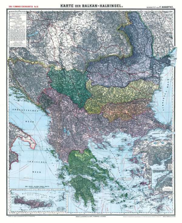 Schlesien Karte Deutsche Ortsnamen.Friedrich Handtke Historische Karte Die Balkan Halbinsel Um 1910 Gerollt