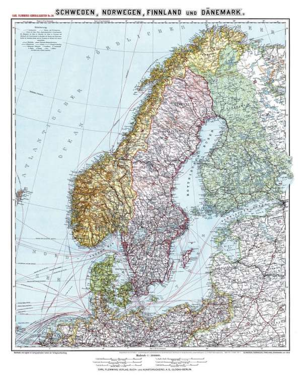 Karte Norwegen Dänemark.Friedrich Handtke Historische Karte Schweden Norwegen Finnland Und Dänemark Um 1910 Gerollt