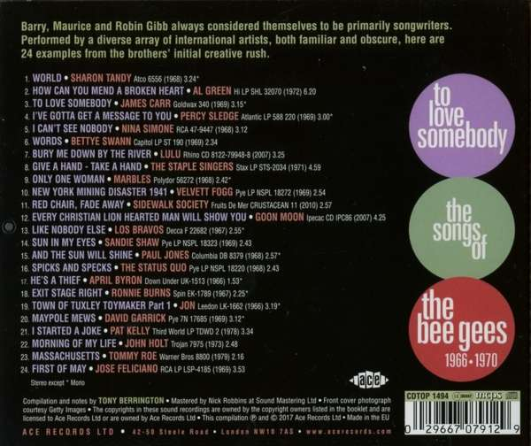 To Love Somebody The Songs Of The Bee Gees 1966 1970
