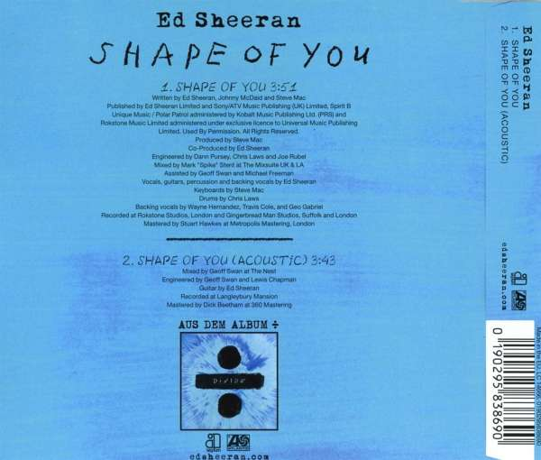 Ed Sheeran Shape Of You Maxi Cd Jpc De