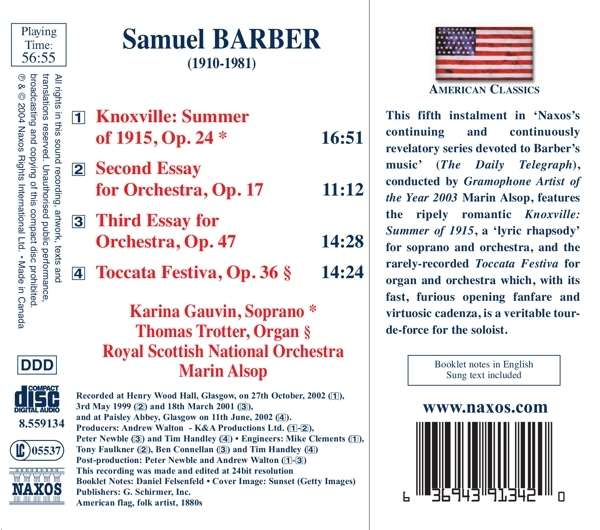 samuel barber essay for orchestra no 1 Samuel barber second essay (for orchestra) glasgow royal concert hall, scotland, uk  samuel barber symphony no 1 in one movement, op 9 verizon hall, kimmel center, philadelphia, pa  symphony no 2 samuel barber concerto for violin skirball center, new york, ny.
