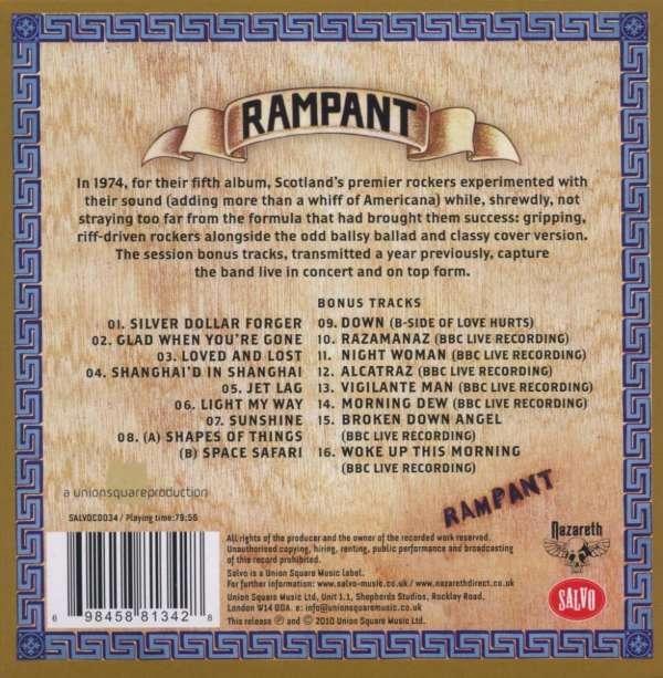 Nazareth Rampant Remastered Bonustracks Cd Jpc