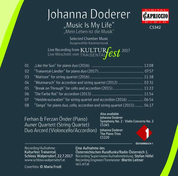 Johanna Doderer Kammermusik Music Is My Life Cd Jpc