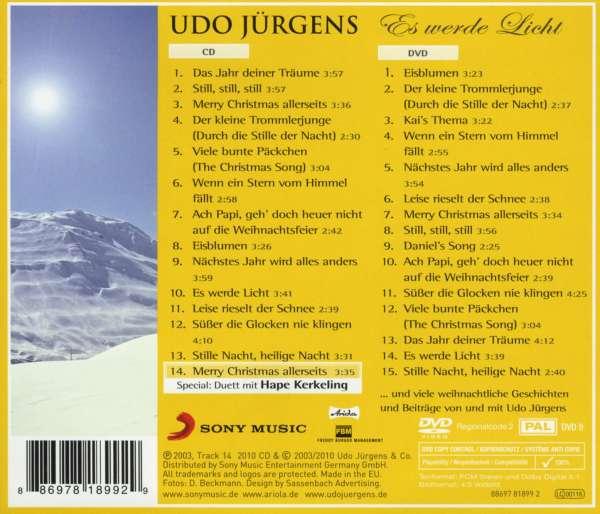 Udo Jürgens Weihnachtslieder.Udo Jürgens Es Werde Licht Meine Winter Und Weihnachtslieder Cd Dvd