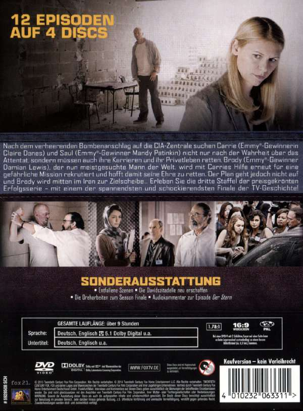 Homeland Staffel 3 4 Dvds Jpc