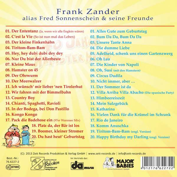 Frank Zander Alias Fred Sonnenschein Und Seine Freunde 40 Jahre