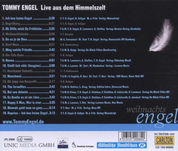 tommy engel weihnachtsengel live aus dem cd jpc. Black Bedroom Furniture Sets. Home Design Ideas
