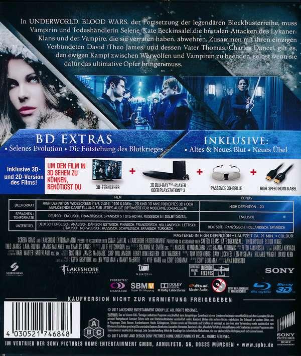 Underworld Blood Wars 3d 2d Blu Ray Jpc
