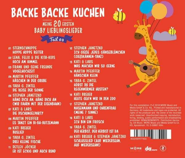 Backe Backe Kuchen 3 Meine 20 Ersten Baby Liebl Cd Jpc