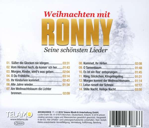 ronny weihnachten mit ronny seine sch nsten lieder cd. Black Bedroom Furniture Sets. Home Design Ideas
