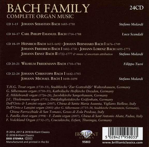 Bach Family - Die Orgelwerke der Bach-Familie, 24 CDs (Rückseite)
