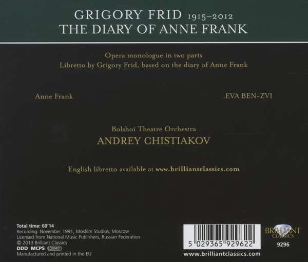 Grigori Frid Das Tagebuch Der Anne Frank Cd Jpc