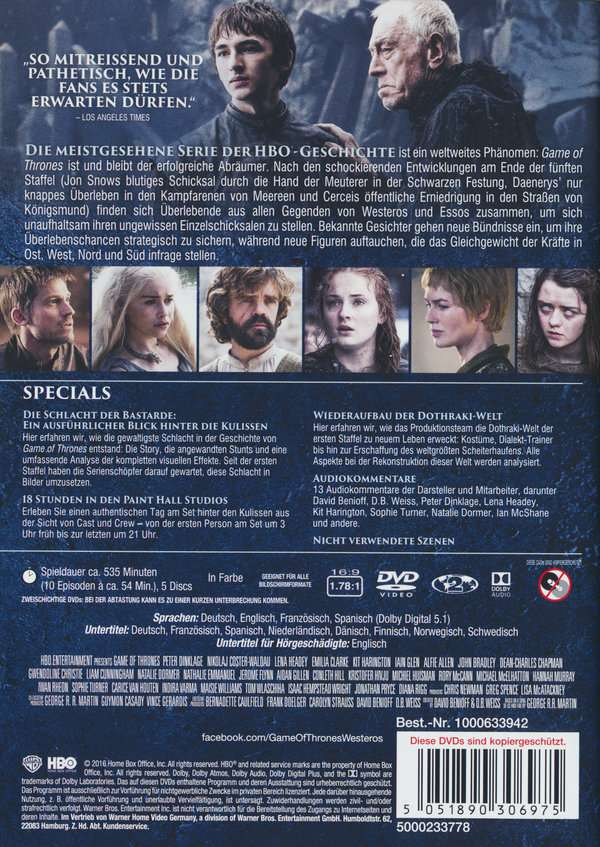 Game Of Thrones Season 6 5 Dvds Jpc