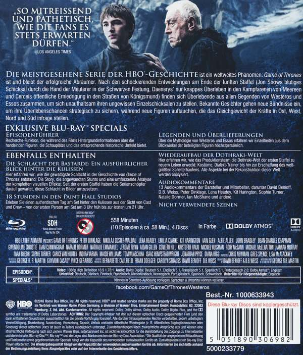 Game Of Thrones Season 6 Blu Ray Jpc