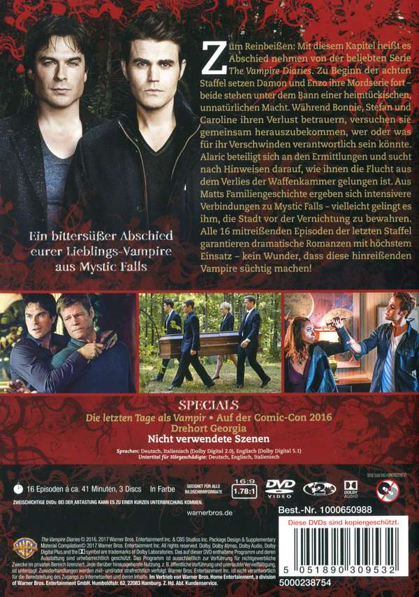 The Vampire Diaries Staffel 8 Finale Staffel 3 Dvds Jpc