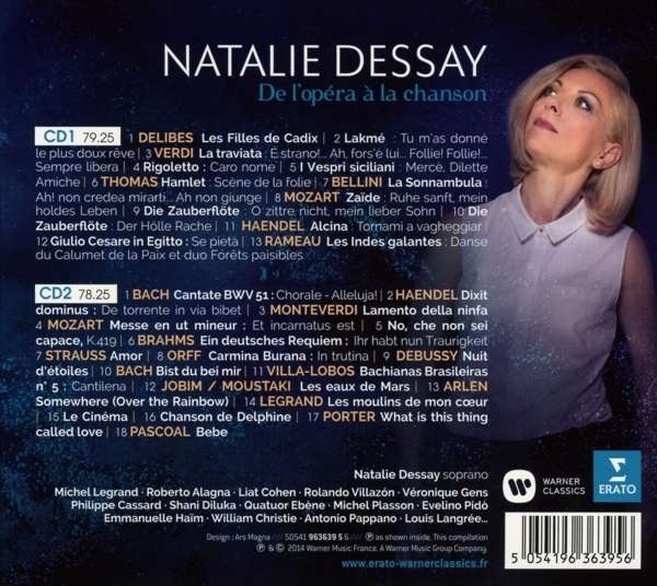 dessay cd Baroque repertoire has always played a part in natalie dessay's stellar career she first started singing it in 1999, after meeting emmanuelle haïm during rehearsals for alcina at the opera de paris - palais garnier erato presents this double cd containing a full portrait of natalie dessay.