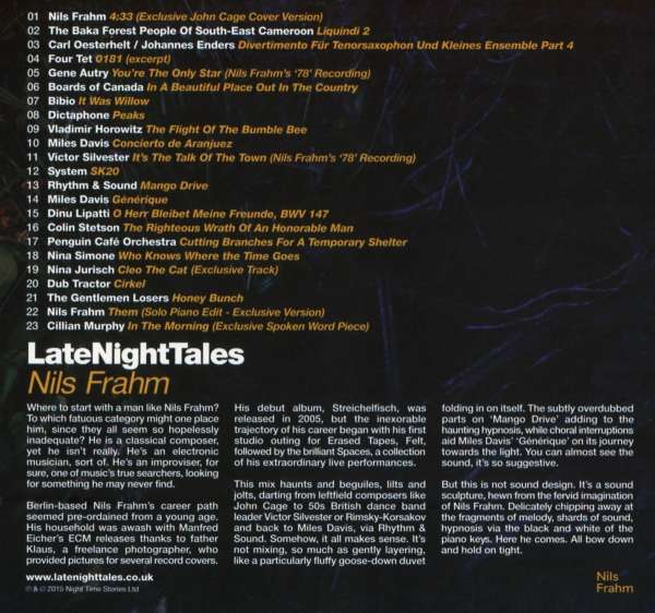 Nils Frahm Late Night Tales Limited Edition Mp3 Cd