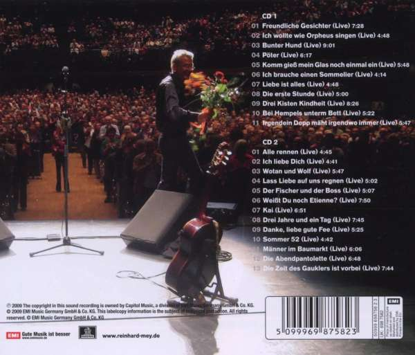 Reinhard Mey: Danke liebe gute Fee: Live 2008, 2 CDs (Rückseite)