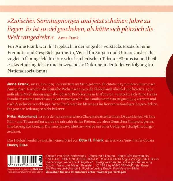Anne Frank Tagebuch Hörbestseller Mp3 Ausgabe Cd Jpc